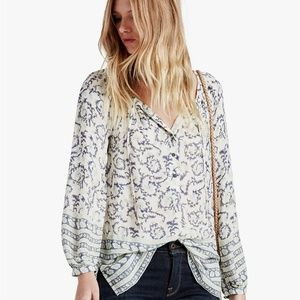 LUCKY BRAND 100% RAYON PEASANT PAISLEY SUMMER TOP